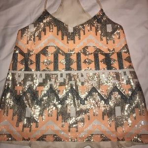 Orange and silver sequin tank top